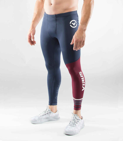 Men's Stay Cool Compression Pants (RX 8)- VIRUS - Navy/Maroon