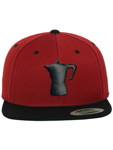 Caffè e Creatina - Big Moka Snapback Cap - Red/Black