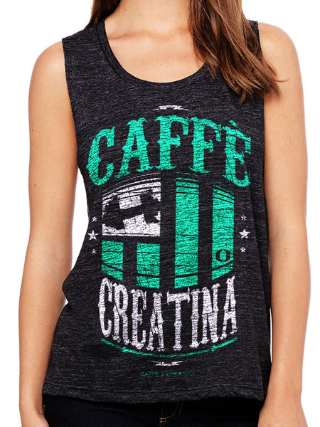 Triblend Tanktop Caffè e Creatina - Dumbell Tiffany Teal - Woman|Tanktop Caffè e Creatina - Dumbell Tiffany Teal - Donna