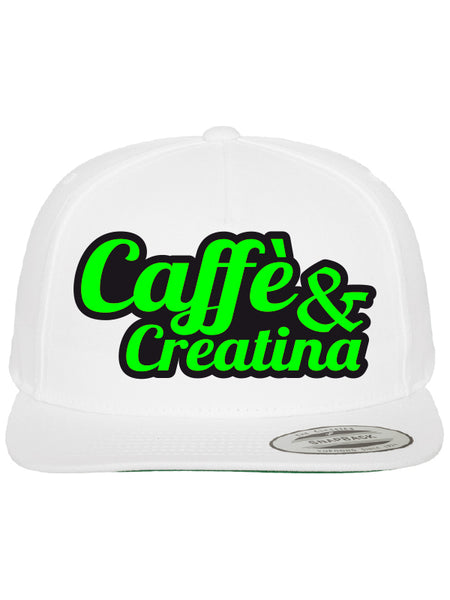 Caffè e Creatina - Script Snapback Cap - White/Alien Green/Black