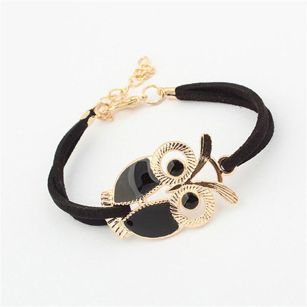 Vintage Vegan Leather Owl Rope Bracelet (4 Colors)