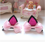 Girls Matching Cat Ear Hair Clips