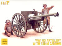 #8158 WWI US Artillery with 75mm Cannon