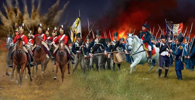 #2450 Battle of Waterloo 1815: British Life Guards, Prussian Infantry & French Grenadier Guards (107)