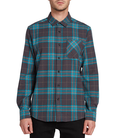 VOLCOM CADEN PLAID LONG SLEEVE SHIRT A0531906 ASPHALT BLUE