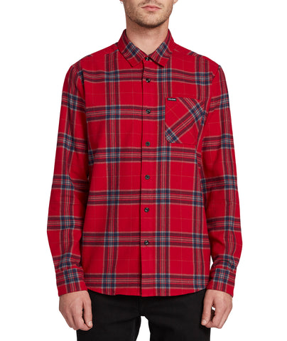 VOLCOM CADEN PLAID LONG SLEEVE SHIRT A0531906 ENGINE RED