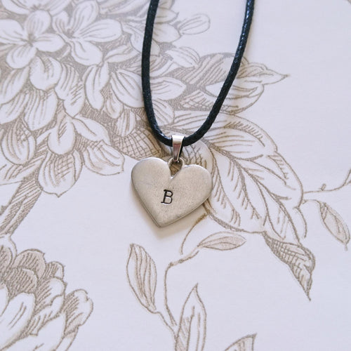 Heart Initial Cord Necklace