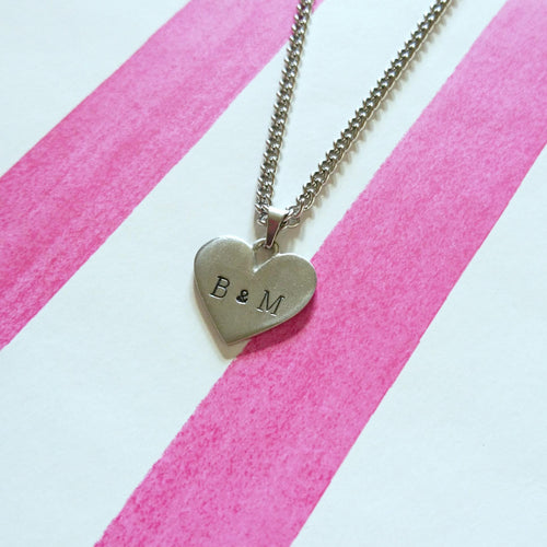 Stamped Heart Chain Necklace