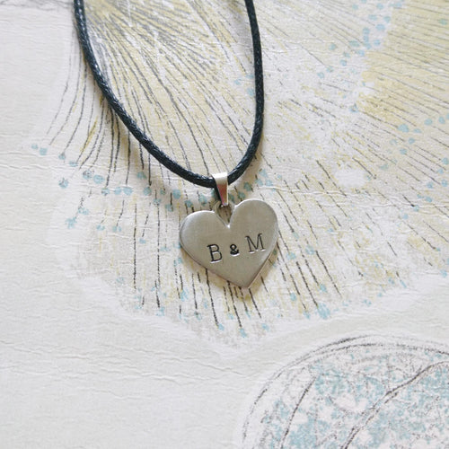 Stamped Heart Cord Necklace