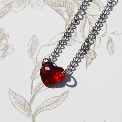 Red Crystal Heart Chain Choker