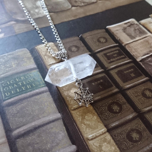 Clear Quartz Web Necklace