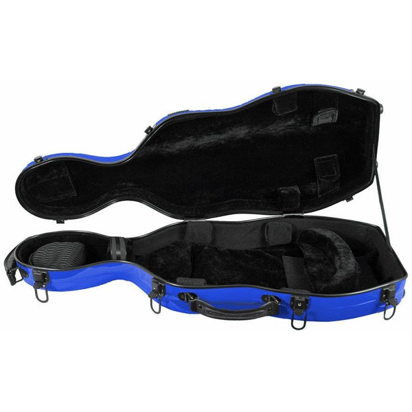 Tonareli Shaped Viola Fiberglass Cases with Wheels VAF1008 Blue - Fiddle Cases