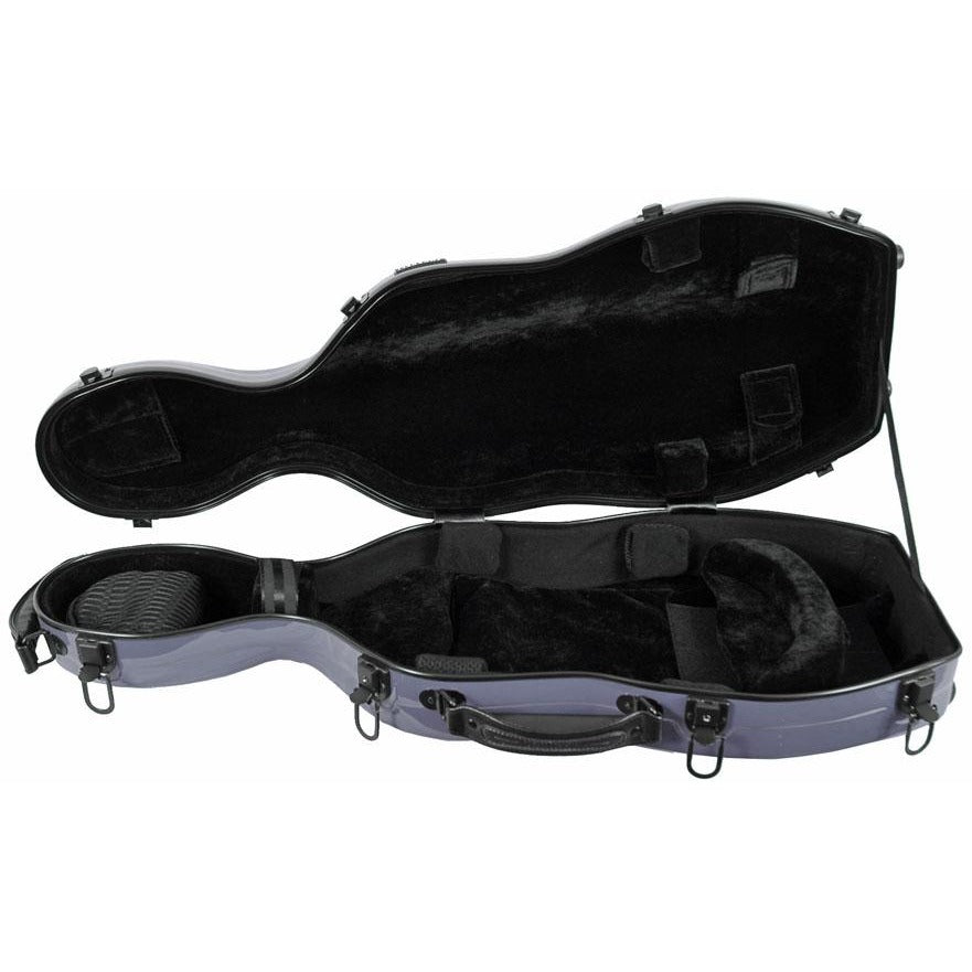Tonareli Shaped Viola Fiberglass Cases with Wheels VAF1009 Silver - Fiddle Cases