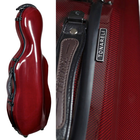 Tonareli Shaped Viola Fiberglass Cases with Wheels VAF1022 Red Graphite - Fiddle Cases