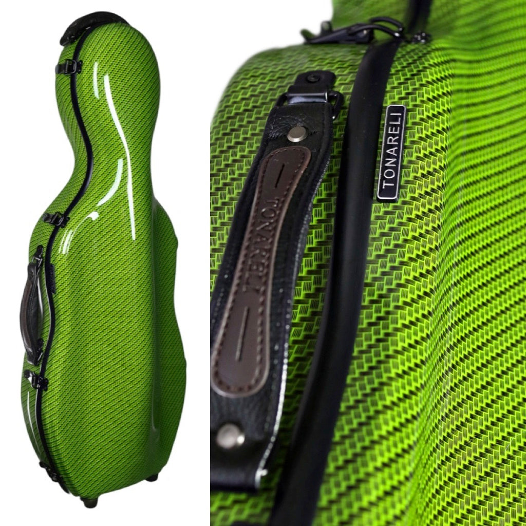 Tonareli Shaped Viola Fiberglass Cases with Wheels VAF1020 Green Checkered - Fiddle Cases