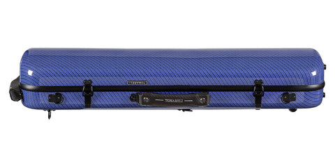 Tonareli Violin Oblong Fiberglass Case VNFO1017 Special Edition Blue Checkered