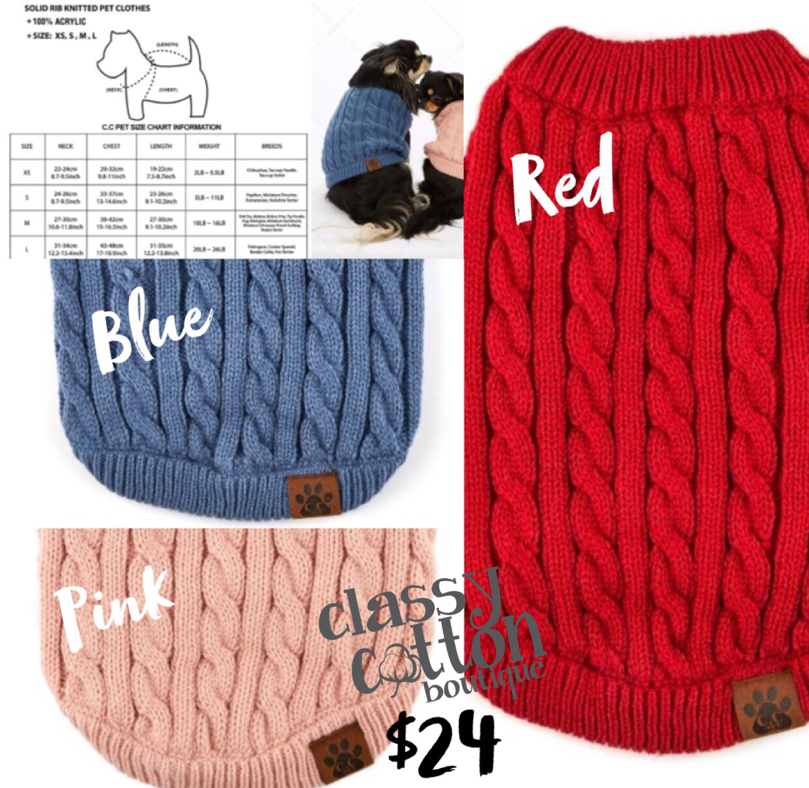 3414-C.C knitted Pet Sweater *Final Sale*