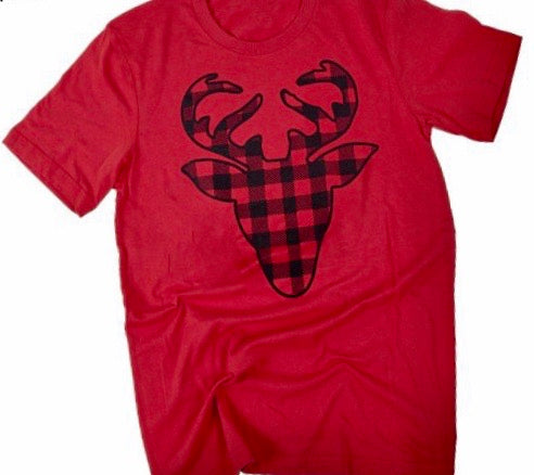 4148-Buffalo Check Deer Tee