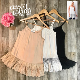 2235H Solid layering tanks with lace hemline