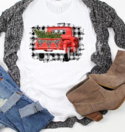 3522-Red Christmas Truck *Final Sale*