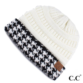 4150-Houndstooth ribbed beanie