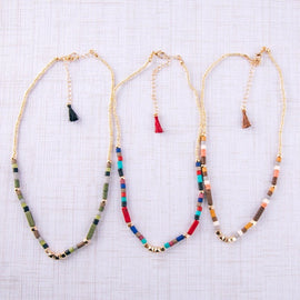 3969-Colorblock Beaded Necklaces