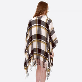 4003-Plaid Ruana Wrap