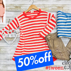 2724  tween girl coral and blue stripe cold shoulder sweater