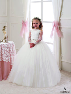AMAZING WHITE LACE SLEEVES FLOOR LENGHT GIRLS WEDDING DRESS
