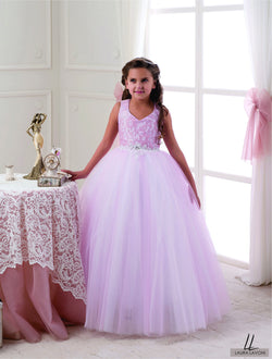 ALLURING PINK SLEEVELESS FLOOR LENGHT GIRLS DRESS FOR WEDDINGS