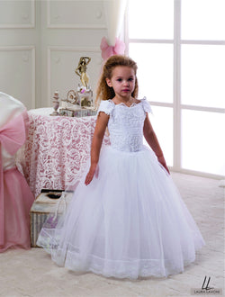 AMAZING WHITE FLORAL LACE PEARLS CAP SLEEVES GIRLS WEDDING DRESS