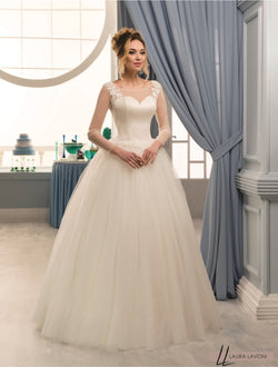 GLORIOUS LACE LONG SLEEVES BOW FLOOR LENGHT WEDDING DRESS - Bridget
