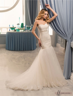 BEAUTIFUL MERMAID SLEEVELESS WHITE WEDDING DRESS - Sonia