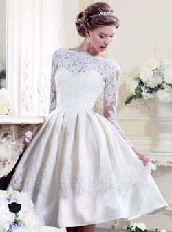 BEAUTIFUL WHITE FULL SLEEVES KNEE LENGTH WEDDING DRESS
