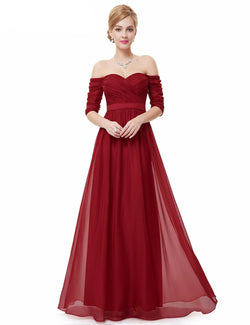ALLURING BURGUNDY SLEEVELESS FLOOR LENGTH BRIDESMAID DRESS
