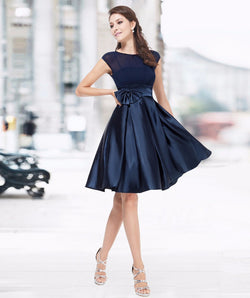 NAVY BLUE SLEEVELESS KNEE LENGTH BRIDESMAID DRESS