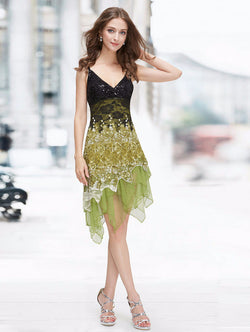 ELEGANT SLEEVELESS KNEE LENGTH DRESS FOR PARTY