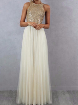 BEAUTIFUL SLEEVELESS FLOOR LENGTH BRIDESMAID DRESS