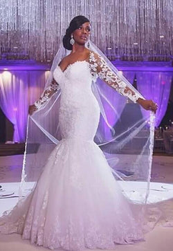 WHITE FULL SLEEVES FLOOR LENGTH WEDDING DRESS