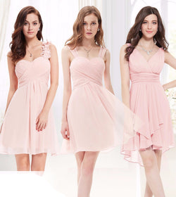 STUNNING PINK SLEEVELESS SHORT LENGTH BRIDESMAID DRESS