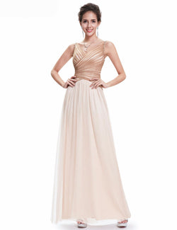 BEAUTIFUL CHAMPAGNE SLEEVELESS FLOOR LENGTH BRIDESMAID DRESS