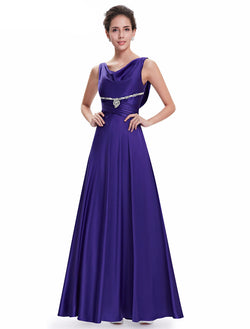 CAPTIVATING BLUE SLEEVELESS FLOOR LENGTH BRIDESMAID DRESS