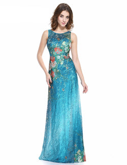 GREEN & BLUE SLEEVELESS FLOOR LENGTH DRESS FOR PARTY