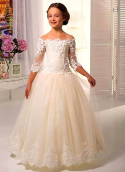 ATTRACTIVE THREE QUARTER FLOOR LENGTH WEDDING DRESS FOR GIRLS