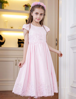 ALLURING PINK CAP SLEEVES GIRLS DRESS FOR WEDDINGS