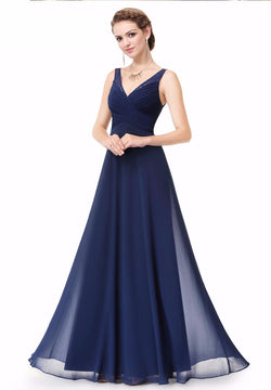 NAVY BLUE SLEEVELESS FLOOR LENGTH BRIDESMAID DRESS