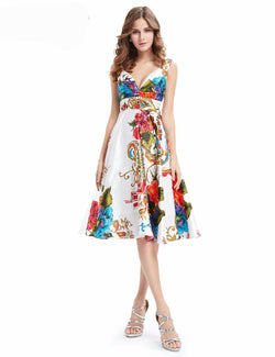 MULTI-COLORED SLEEVELESS KNEE-LENGTH DRESS FOR PARTY
