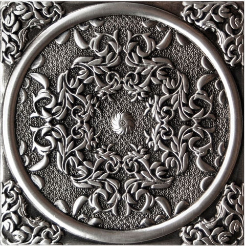 "1458 PLOX FLORESTA ANTIQUE SILVER 3.1"" X 3.1"""