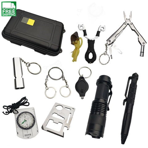 10 In 1 Survival Kit Set Outdoor Edc Camping Equipment Travel Multifunction Safety & Survival