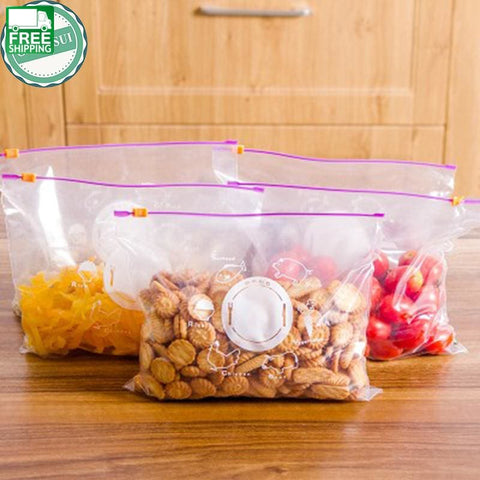 10Pcs Storage Zipper Bag Fresh Food Snack Clip Grip Coffee Plastic Camp Kitchen